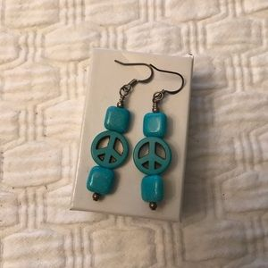 Jewelry - Turquoise Peace Sign Earrings
